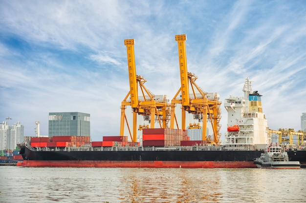 Nave da carico del contenitore con il ponte funzionante della gru nel fondo del cantiere navale