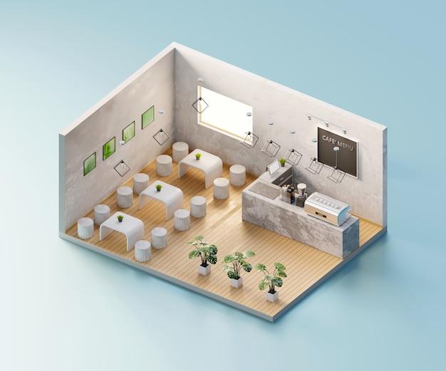 Negozio di caffè vista isometrica aperto all'interno di architettura d'interni, rendering 3d.