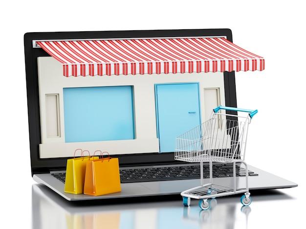 Negozio di computer portatile 3d, e-commerce.