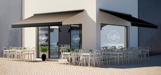 Negozio di facciata cafe con terrazza vista mockup