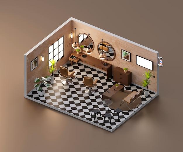 Negozio di taglio di capelli barbiere vintage vista isometrica aperto all'interno di architettura d'interni, rendering 3d.
