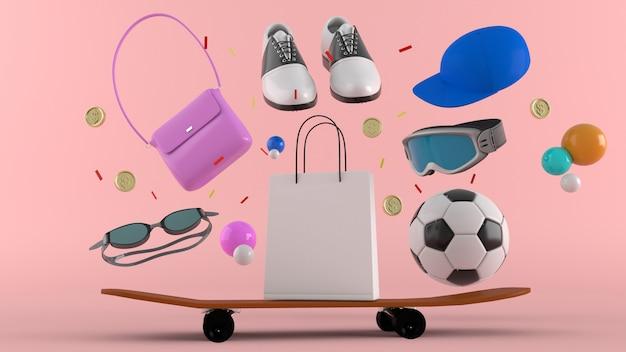 Negozio online, borse per la spesa, portafoglio, banche e monete tra palline colorate su uno sfondo.