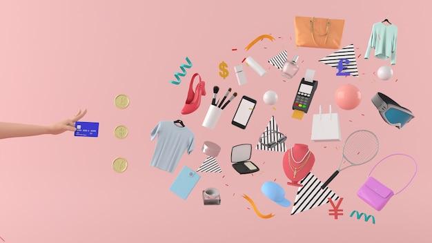 Negozio online, borse per la spesa, portafoglio, banche e monete
