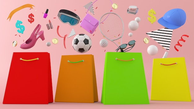 Negozio online, illustrazione 3d di borse per la spesa rendering 3d, portafoglio, banche e monete in mezzo a palline colorate
