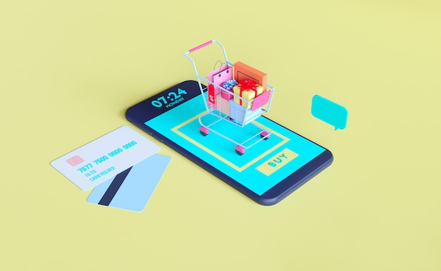Negozio online su applicazione mobile