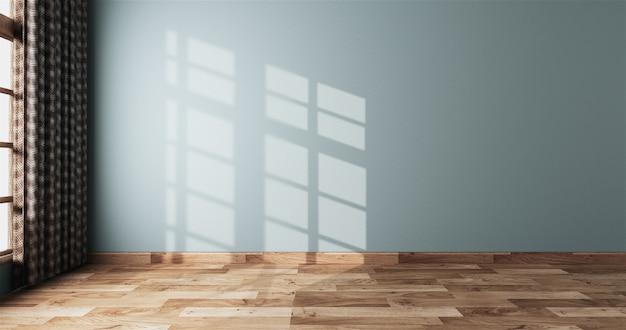 Neo mint stanza bianca vuota sull'interno del pavimento in legno