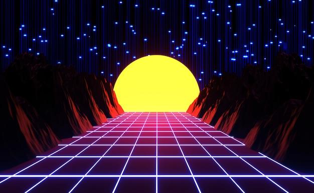 Neon anni '80 in stile retrò gioco vintage e musica paesaggio, luci e montagne rendering 3d.