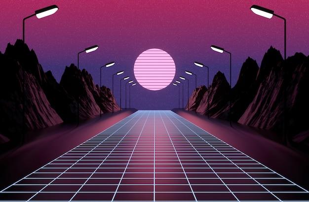 Neon anni '80 in stile, retro gioco vintage paesaggio, luci e montagne rendering 3d.