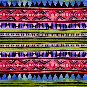 Neon design tribale incandescente. sfondo trasparente con motivo a colori notturni. acquerello dipinto a mano