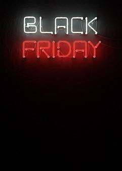 Neon nero di vendita di venerdì con la rappresentazione dello spazio 3d della copia