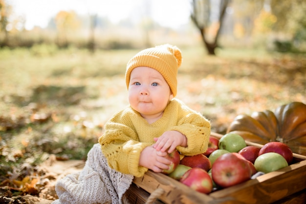 Neonata felice con un canestro con le mele all'aperto nel parco di autunno