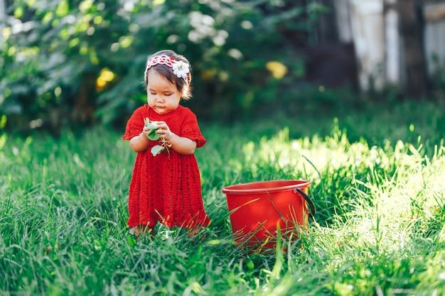 Neonata in vestito rosso che mangia pera nel giardino di estate vicino al secchio rosso