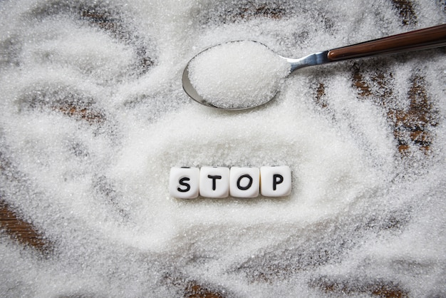 Nessuno zucchero ferma i blocchi di testo