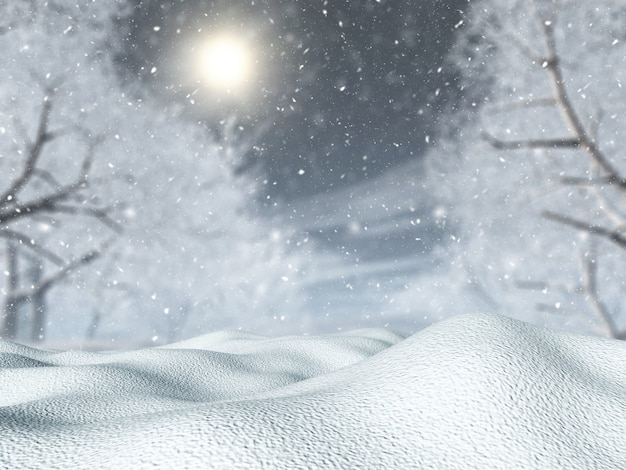 Neve 3d contro un paesaggio albero in una bufera di neve