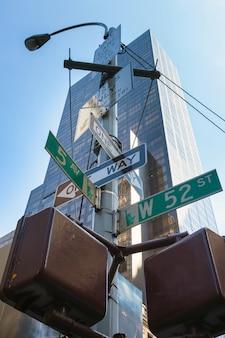 New york city, post segno di strada.