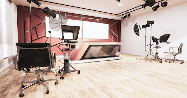 News studio room design finiture in alluminio oro su muro rosso, sfondo per programmi tv