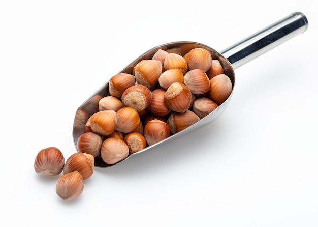 Nocciole in pala di metallo (raccolta di vari tipi di noci). isolato.