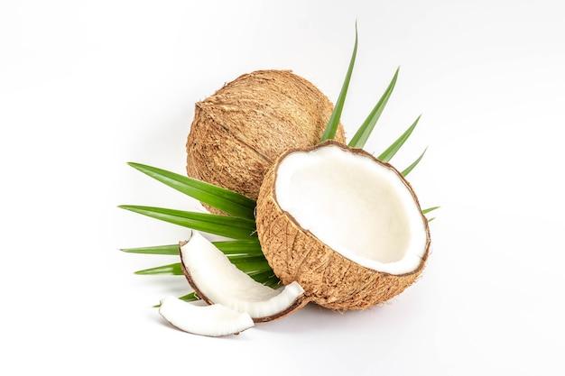 Noce di cocco con la metà e foglie su fondo bianco