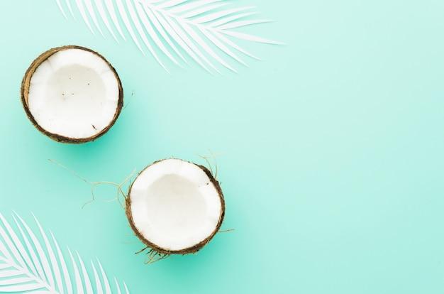 Noci di cocco con foglie di palma sul tavolo