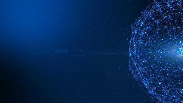 Nodi del sistema di dati digitali blu scuro astratti della sfera e percorsi di collegamento.