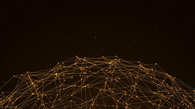 Nodi e percorsi di connessione del sistema di dati digitali astratti marrone scuro a sfera.