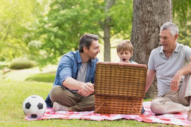 Nonno padre e figlio con cestino da picnic