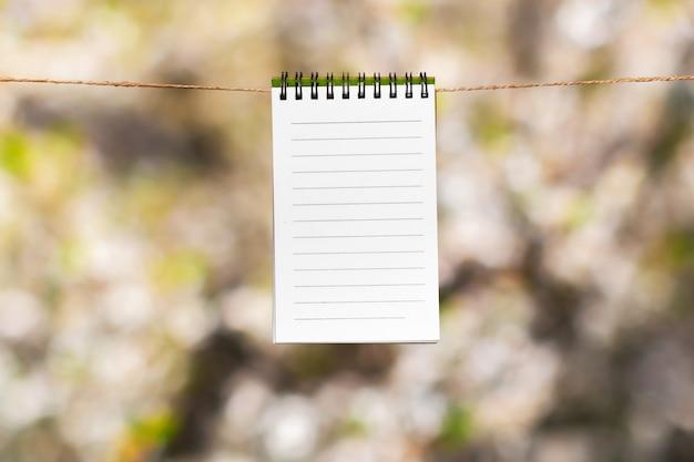 Note di carta bianca con copia spazio appuntato sulla corda