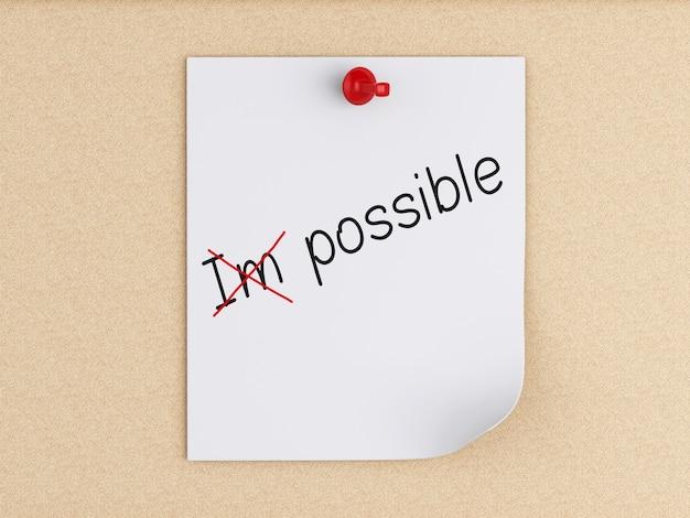 Note di post-it 3d con la puntina da disegno sopra sughero. atteggiamento ottimista