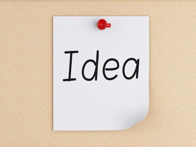 Note di post-it 3d con la puntina da disegno sopra sughero. concetto di business