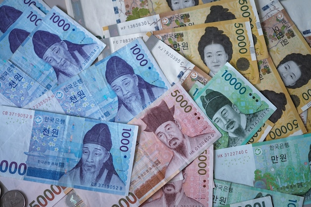 Note vinte coreane per il fondo di concetto dei soldi
