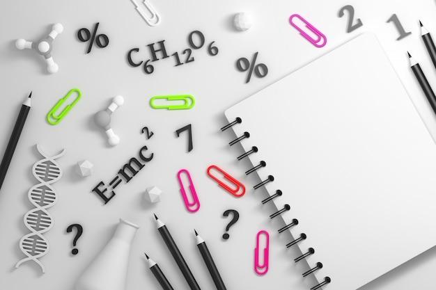 Notebook con strumenti scientifici