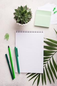 Notebook sulla scrivania con penne e foglie