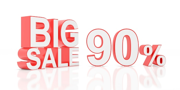 Novanta per cento di vendita grande vendita per banner del sito. rendering 3d.