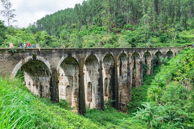 Nove ponte ad arco situato nella giungla profonda in tempo nuvoloso