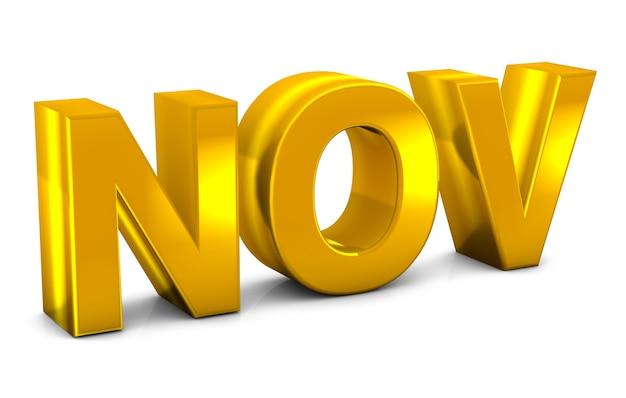 Novembre oro testo 3d novembre mese abbreviazione isolato su sfondo bianco rendering 3d.