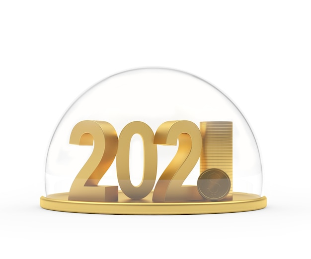 Numeri 2021 con pila di monete protette da cupola trasparente
