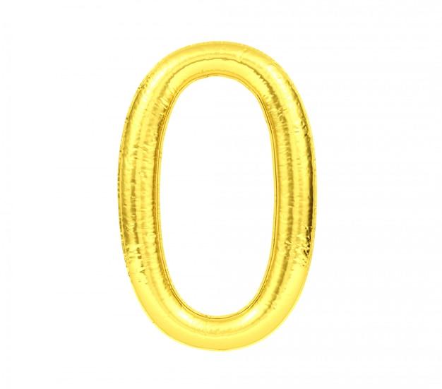 Numero 0, numero zero del pallone dorato isolato su fondo bianco, rappresentazione 3d