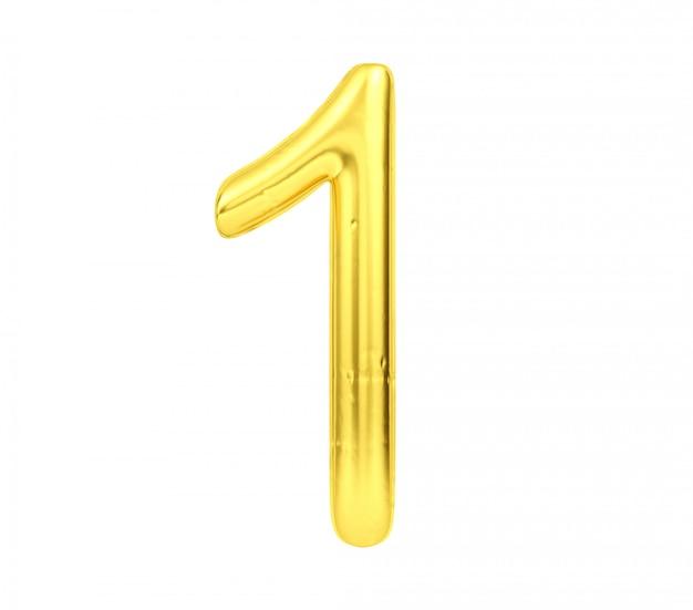 Numero 1, aerostato dorato numero uno isolato su fondo bianco, rappresentazione 3d