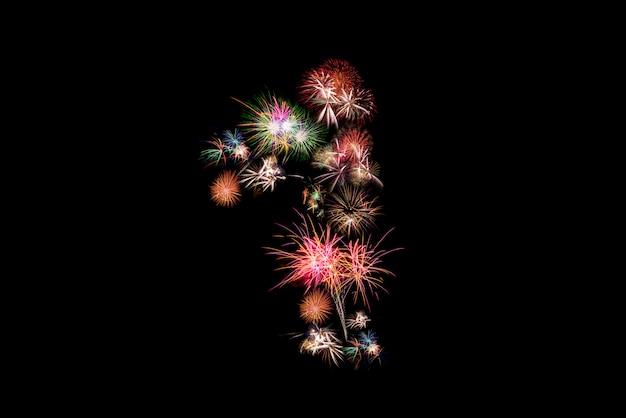 Numero 1. alfabeto numero fatto di fuochi d'artificio reali