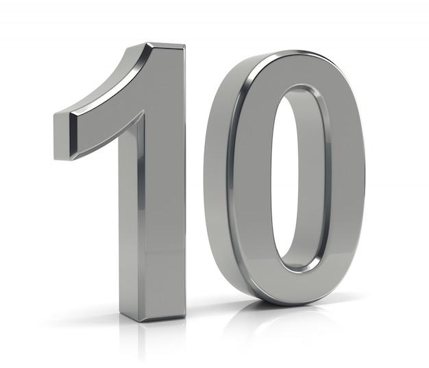 Numero 10 isolato su sfondo bianco