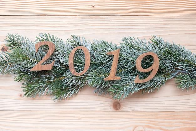 Numero 2019 con alberi di pino su fondo di legno