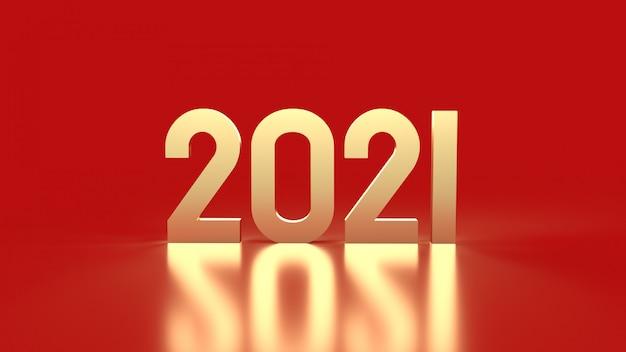 Numero 2021 d'oro su sfondo rosso