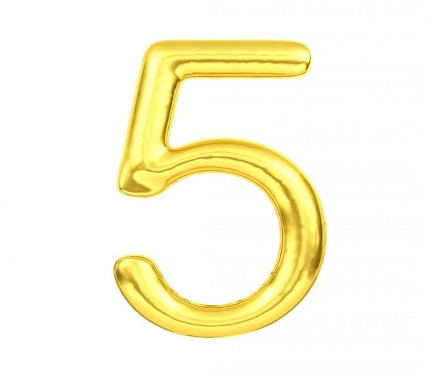 Numero 5, pallone numero cinque isolato su fondo bianco, rappresentazione dorata 3d