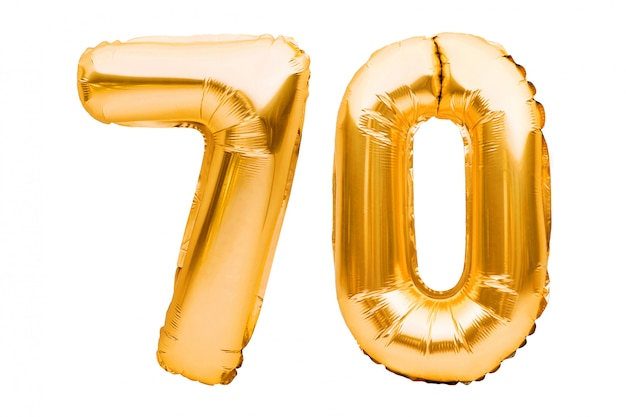 Numero 70 settanta fatto di palloncini gonfiabili d'oro isolati su bianco. palloncini ad elio, numeri di lamina d'oro.