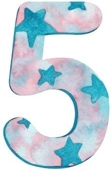 Numero cinque dell'acquerello con colori e stelle rosa e blu.