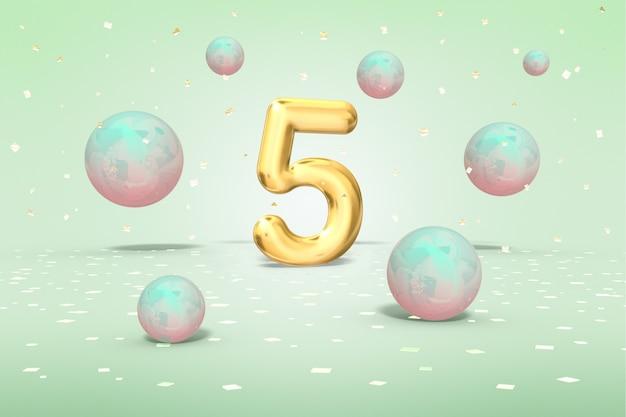 Numero d'oro 5, sfere lucenti volanti neon multicolori e coriandoli d'oro