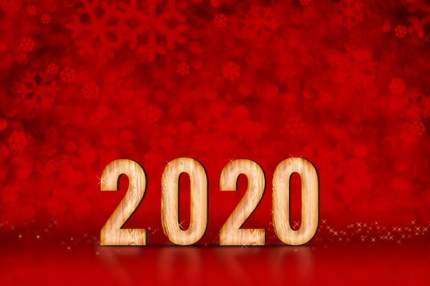 Numero di felice anno nuovo 2020 a fiocchi di neve rossi scintillanti luci bokeh