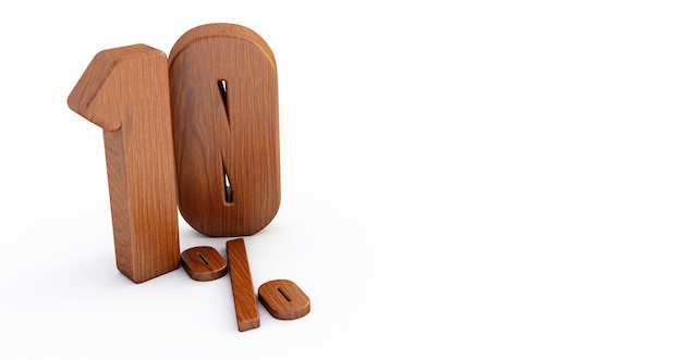 Numero di legno isolato su bianco