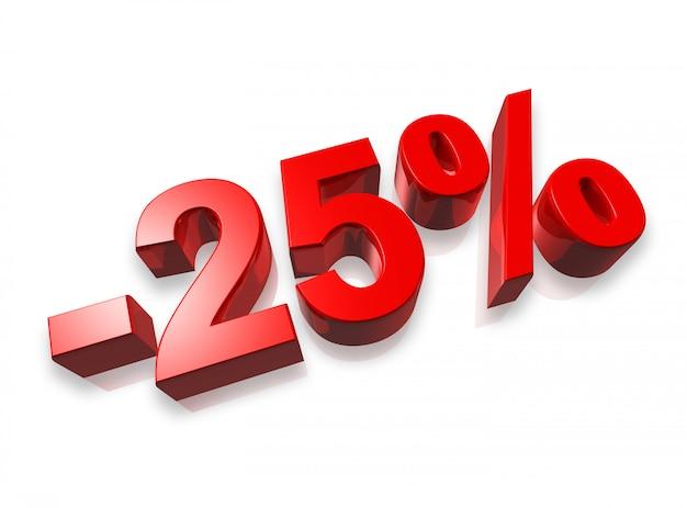 Numero di venticinque per cento in 3d isolato su bianco - 25%