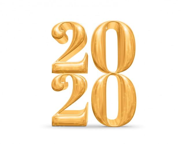 Numero dorato di 2020 buoni anni (rappresentazione 3d) sulla stanza bianca dello studio, biglietto di auguri
